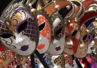 Wall Mural - Group of Vintage venetian carnival masks