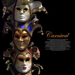 Vintage venetian carnival masks on black background