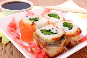 fish rolls close up