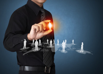 Wall Mural - Business man holding virtual icon of social network