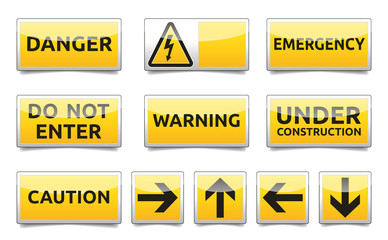 Danger yellow sign mini set
