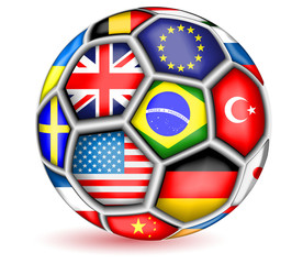 Football ball with flags.Vector
