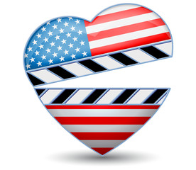 Clapper board with heart USA flag.Vector