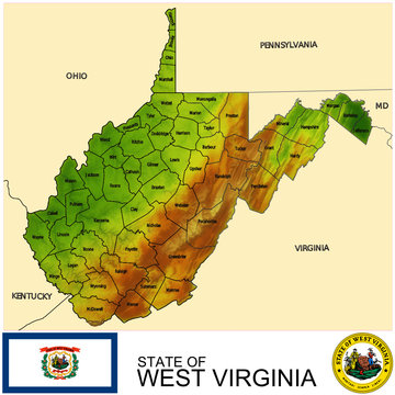 West Virginia USA counties name location map background