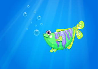 A green fish under the sea