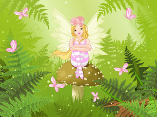 Wall Mural - Magic fairy in forest