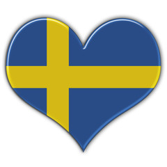 Heart with flag of Sweden