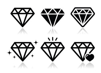 Diamond vector icons set