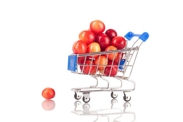 Sweet cherries in shopping cart