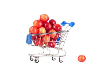Sweet cherries in shopping cart