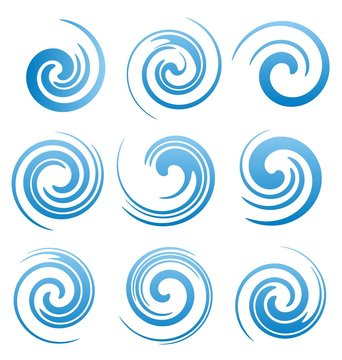 Set of water swirls and abstract waves