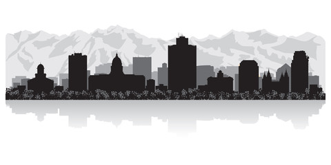 Fototapete - Salt Lake city skyline silhouette
