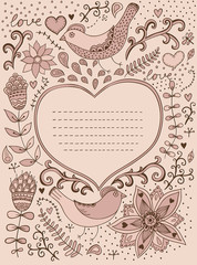 Vintage retro background with floral ornament and heart in the m