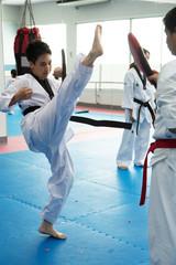 Taekwondo class practicing