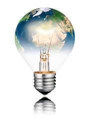 Lightbulb switched ON - World Globe Europe and Africa