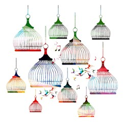 Recess Fitting Birds in cages Colorful vector bird cages pattern with hummingbirds