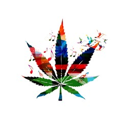Colorful vector cannabis leaf with hummingbirds background