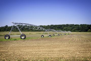 Irrigation pivot on sunny summer day