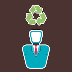 recycle symbol in human head vector