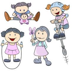 Vector Girls - Kids Vector Illustration in Cartoon Style