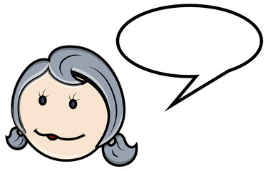 Cute Cartoon Girl Face - Vector Cartoon Illustration