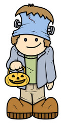 Kid in Halloween Costume - Vector Cartoon Illustration