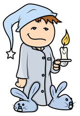 Kid with Candle at Night - Vector Cartoon Illustration