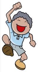 Happy Little Kid Boy - Vector Cartoon Illustration