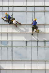 window cleaners on a building