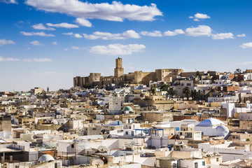 Foto op Plexiglas Tunesië View of the Medina and the castle kasbah of Tunisia in Sousse.