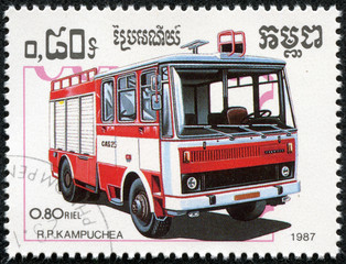 stamp printed in Kampuchea shows firetruck