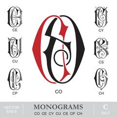 Fototapeta Vintage Monograms CO CE CY CU CS CP CH obraz