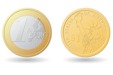 one euro and dollar coins vector illustration
