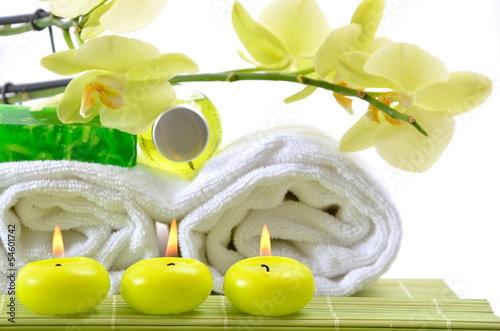 Wellness bilder grün  Wellness Grün Kerzen Seife Badetuch