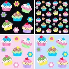 seamless cupcake pattern background
