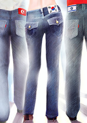 Three people from different countries in jeans