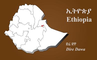 Obraz Äthiopien - Dire Dawa hervorgehoben - fototapety do salonu