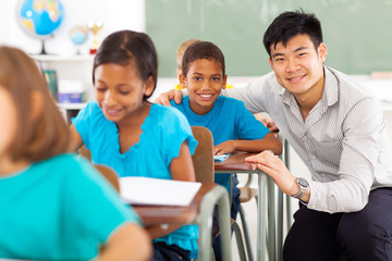 primary teacher helping student in classroom