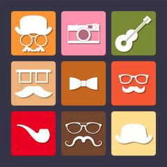Hipster fashion retro flat icons