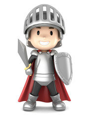 Aluminium Prints Knights 3d render of a cute knight boy