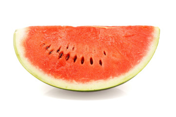 Slice of ripe watermelon isolated over white background