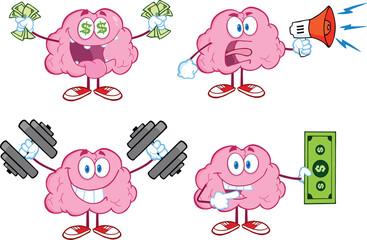 Brain Cartoon Mascot Collection 4