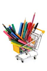 Chariot de stylos, feutres et crayons