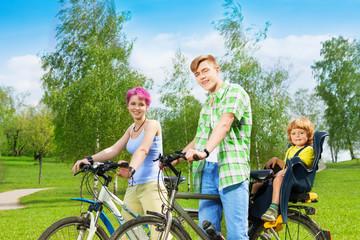 Family on the bikes