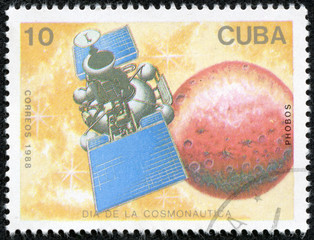 stamp printed in Cuba, shows a spacecraft Phobos