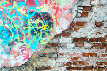 Brick wall and graffiti