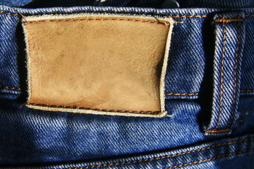 leather tag of jeans