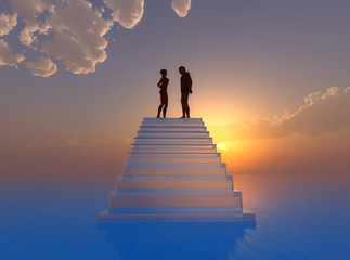 Couple in love living on cloud nine