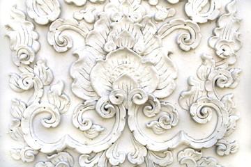 White thai art stucco wall,Thai temple Wall mural