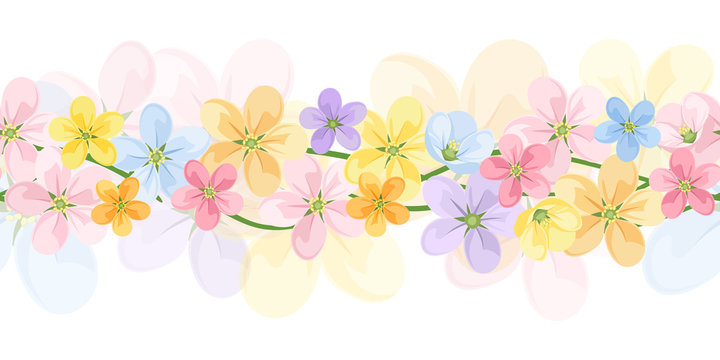 Horizontal seamless background with colorful flowers. Vector.